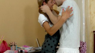 Pigtailed European teen Stephanie teasing a horny stud with her amazing assets