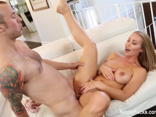 Super sexy Nicole makes his dick ooze with her tight twat